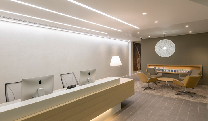 High quality internal design - reception and client witing area