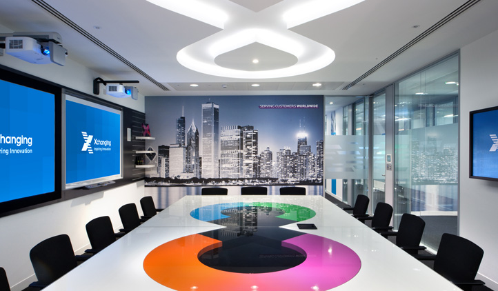 Innovative technology office design, Walbrook Builidng, London - branded demonstration room
